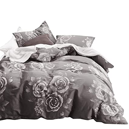 Amazon.com: Wake In Cloud   Floral Comforter Set, 100% Cotton