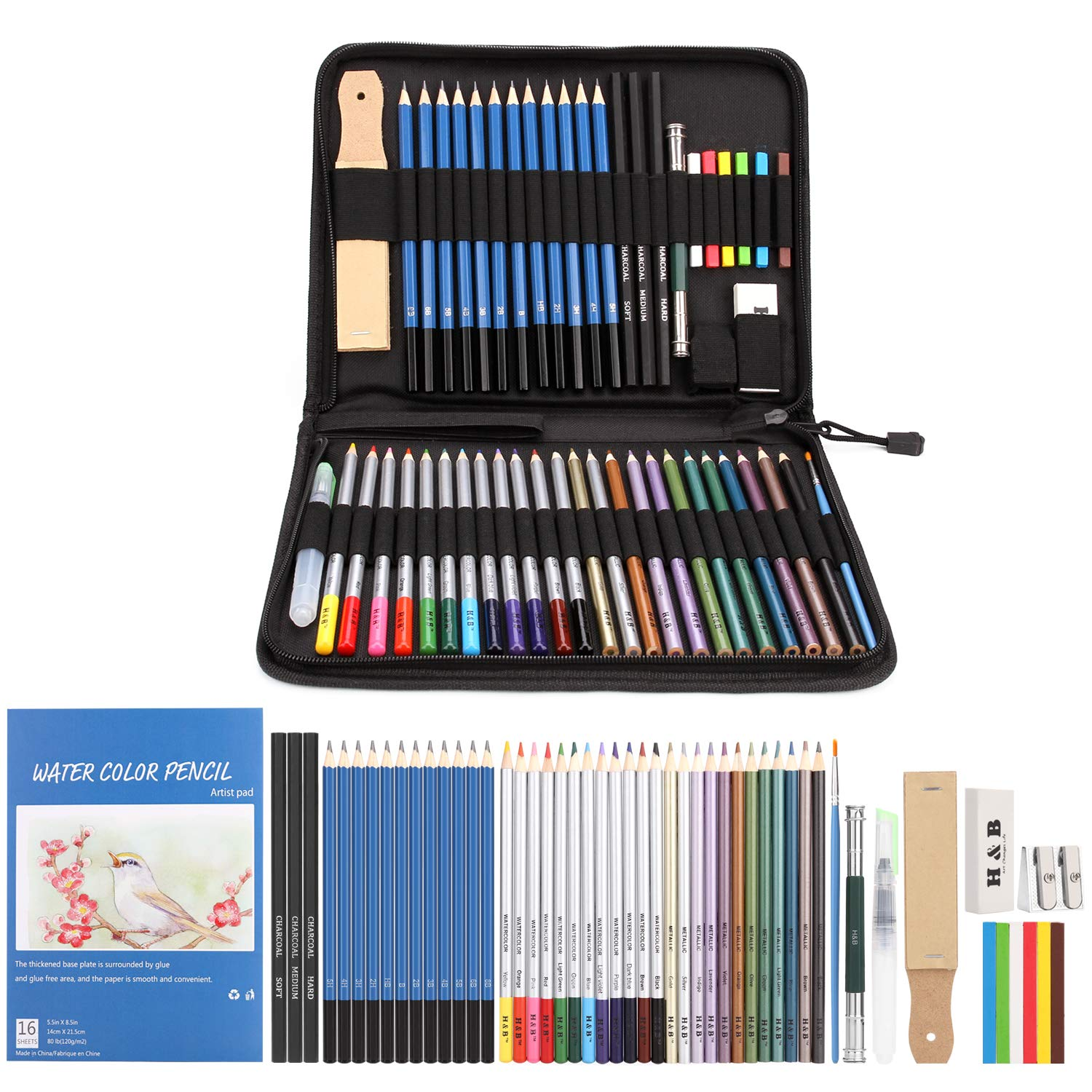 AGPTEK 53pcs Drawing and Sketching Pencil Set, with Pencil, Watercolor Pencil, Sketching Pencil Set & Canvas Zipper Case, Ideal for Artists, Sketchers, Teachers & Students by AGPTEK