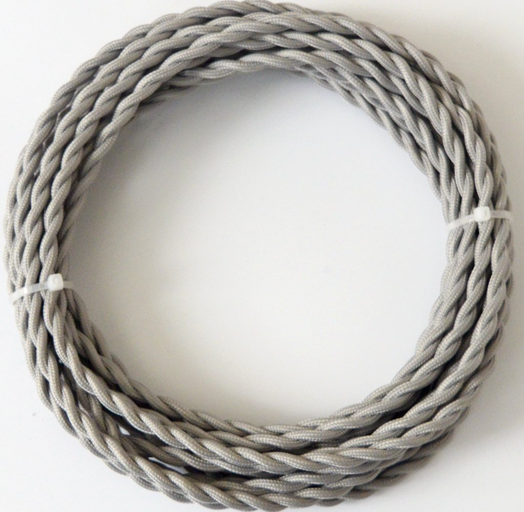 Fortunewill 25 ft 2-wire GreyTwist Cloth Covered Electrical Cord 18/2 Vintage Fabric Braid Lamp Pendant Wire