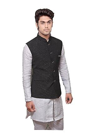 ce38042381 Indian Mens Jacket Wedding Designer Party Wear Black-Silver Dot ...