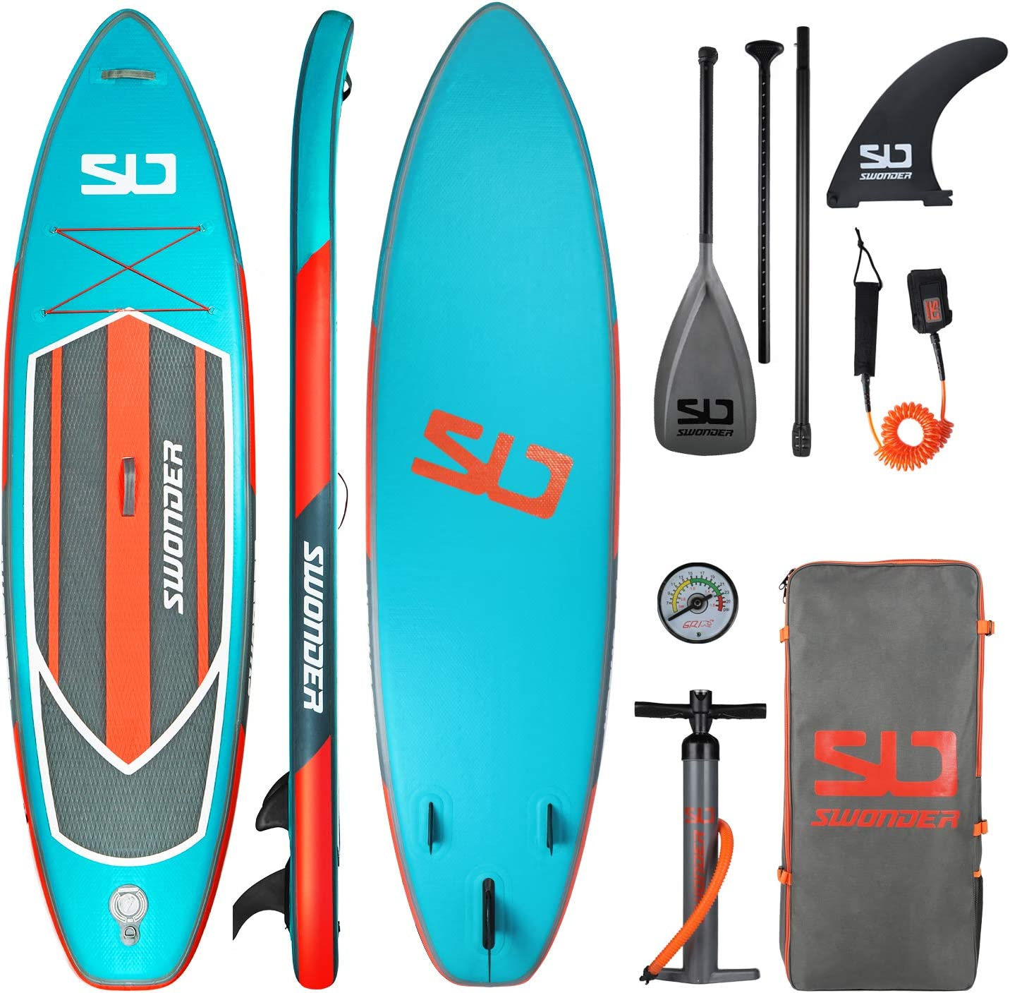 Swonder Premium 11'6″ Inflatable Stand Up Paddle Board with Adjustable Paddle, Backpack, Leash, Pump