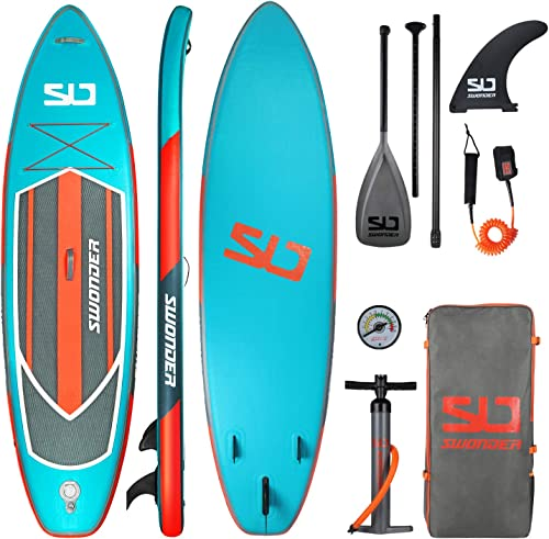 Swonder Premium Inflatable Stand Up Paddle Board, Ultra Durable Steady, 11 6 or 10 6 Long 32 Wide 6 Thick, Full SUP Accessories- Paddle Backpack Leash Pump Fin, Paddling Surfing