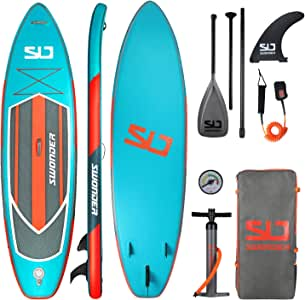 """Swonder Premium Inflatable Stand Up Paddle Board, Ultra Durable & Steady, 11'6"""" or 10'6"""" Long 32'' Wide 6'' Thick, Full SUP Pack with Adjustable Paddle, Backpack, Leash, and Pump for Youth & Adult"""