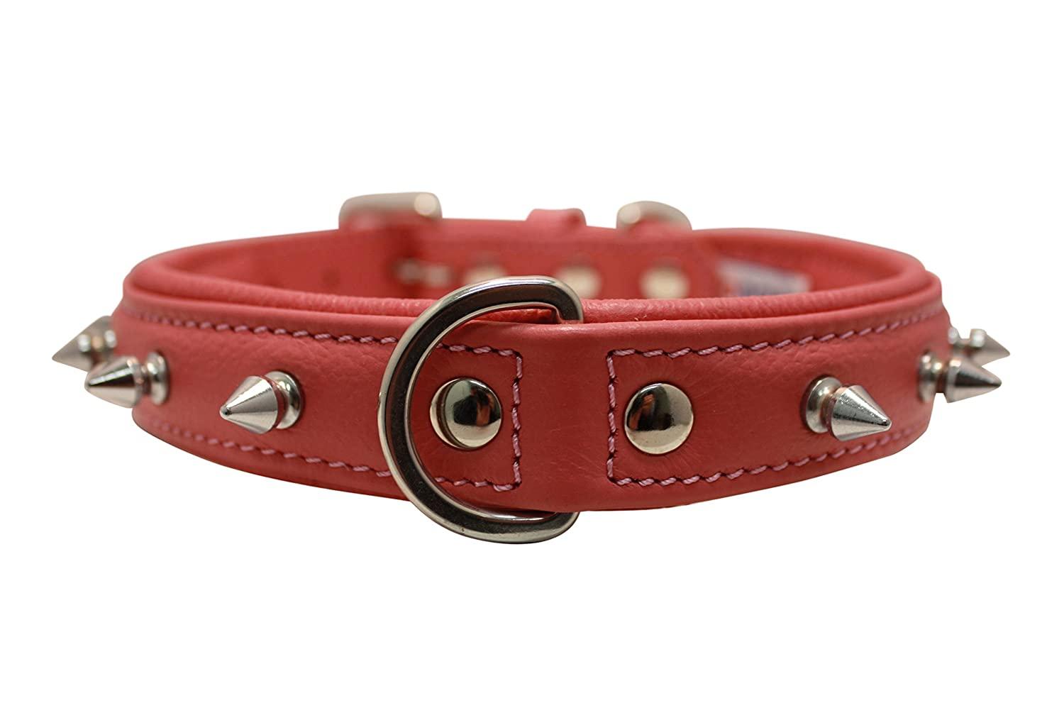 Spiked Studded Leather Dog Collar, Padded, Double-Ply, 22  x 1 , Pink. Stainless Steel (redterdam Spiked) Boxer, Retriever. Necks  16.5-20
