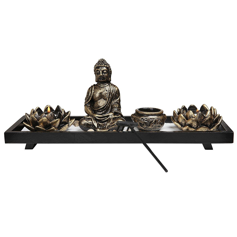 【逸品】 Royal Brands' Zen Garden 13cm with Buddha, Rake, Tea x Light with Candle and Incense holder - Peace and Tranquilly (37cm x 13cm x 7