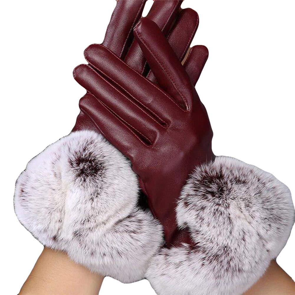 Women's Casual Warm Leather Gloves Touch Screen Waterproof Windproof (Black)