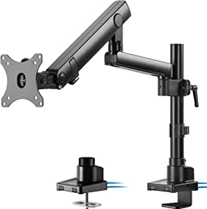 VIVO Premium Aluminum Full Motion Single Monitor Desk Mount Stand with Lift Engine Arm, Pole Extension, and USB Ports | Fits Screens up to 32 inches (STAND-V101BDU)