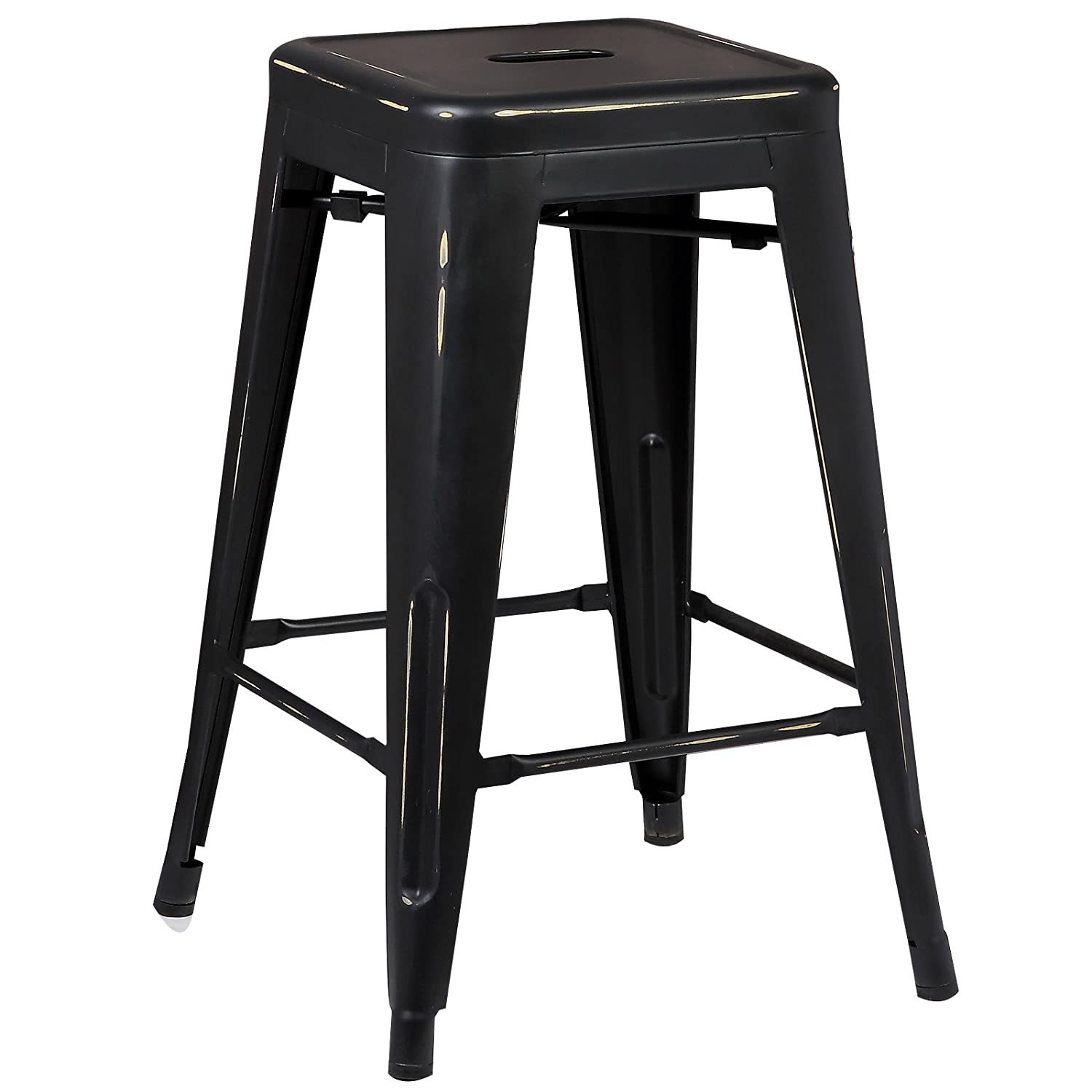 Poly and Bark Trattoria 24 Counter Height Industrial Metal Bar Stool, Stackable, Distressed Black