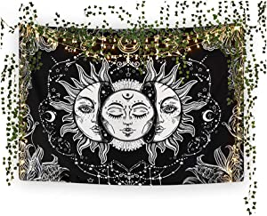Da Vibe Tribe * Sun and Moon Tapestry + Fairy Lights + Vines Room Package –Extra Large Black and White Wall Hanging for Bedroom, Dorm and Bohemian Decor – with 33 Foot Strand of LED Fairy Lights and 12 Faux Ivy Vines