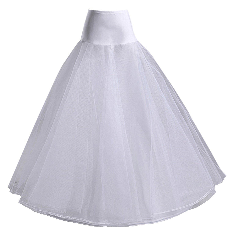 SZMX One Hoop White A-Line Petticoat Crinoline Underskirt Slips Wedding Accessories