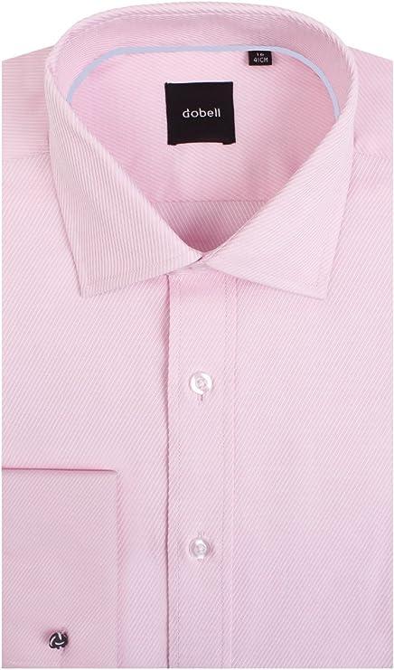 Dobell Camisa Rosa Claro de Sarga con puño Doble 100% algodón