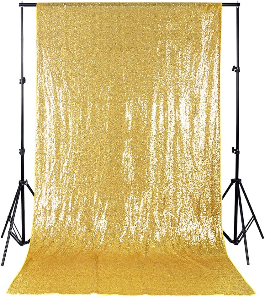 Gold Curtain Backdrop 4ftx8ft Sequin Sequence Backdrop Fabric Birthday Wall Backdrop Decorations Glitter backdrops Photography Prom Backdrop