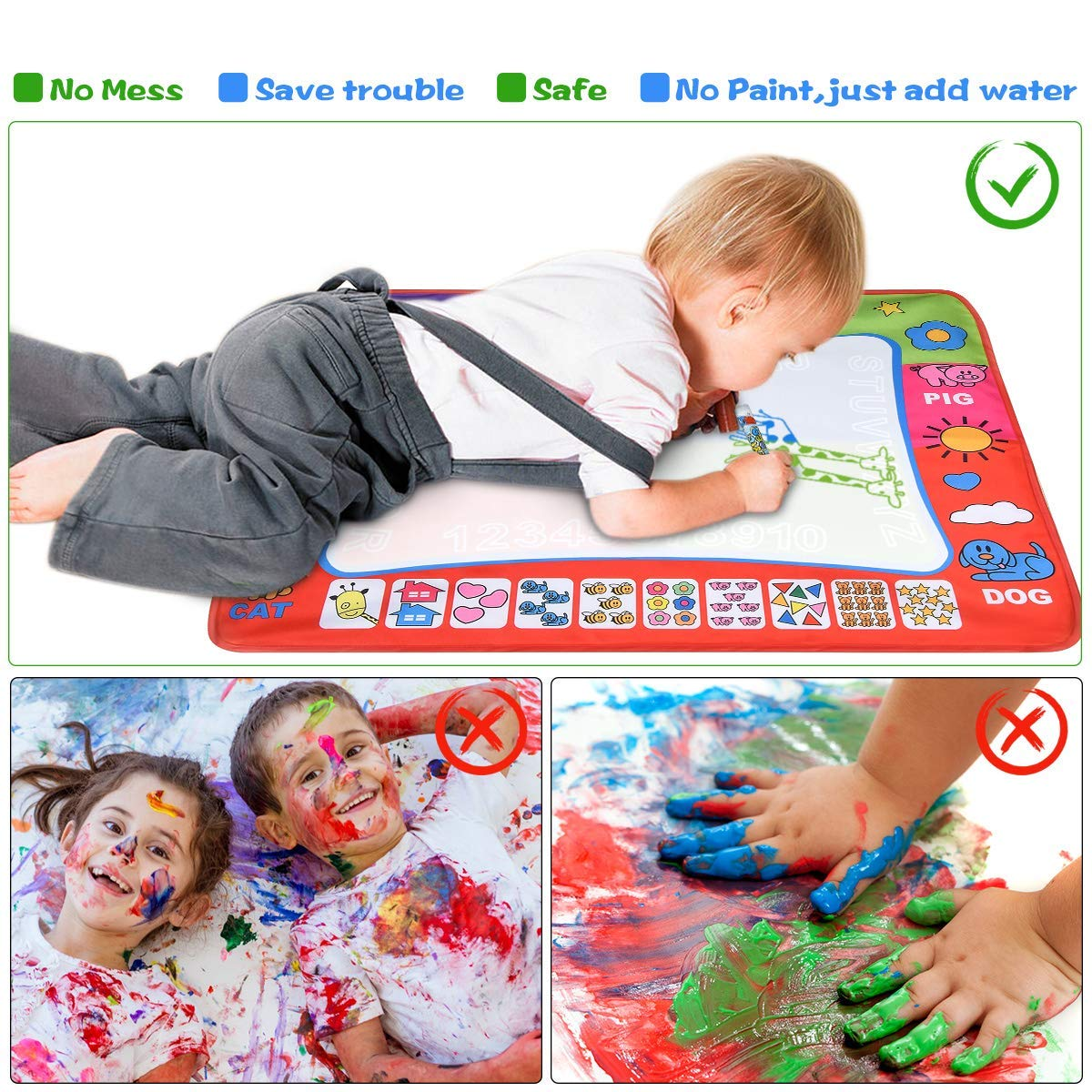 Doodle Mat Color Water Drawing Painting Writing Mat Pad Board 4 Pen 4 Color Develop Intelligence Learning Toy Gift for Boys Girls Age 2 3 4 Year Old 32x24in Folded with Color Box Can Take Outside