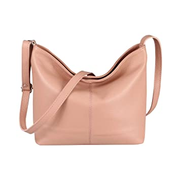 OBC Made in Italy Damen Leder Tasche Shopper Crossbody Umhängetasche Cross Over City Bag Vera Pelle Schultertasche Hobo Bag (Altrosa)