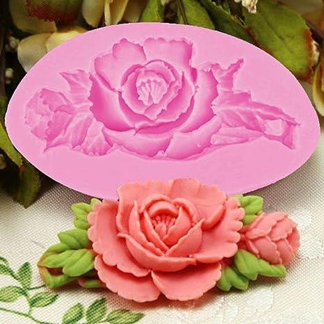 NiceButy 3D diseño de Flores de Rosas para Tartas Molde de Silicona Fondant para decoración de