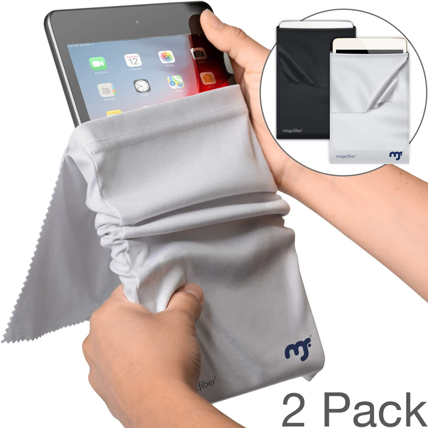 MagicFiber Microfiber iPad Sleeve Case (2 Pack) Light Protection and Screen Cleaning for iPad 9.7, 10.5, Pro, New iPad Air - Compatible with 9.7-11 Inch iPad Tablets