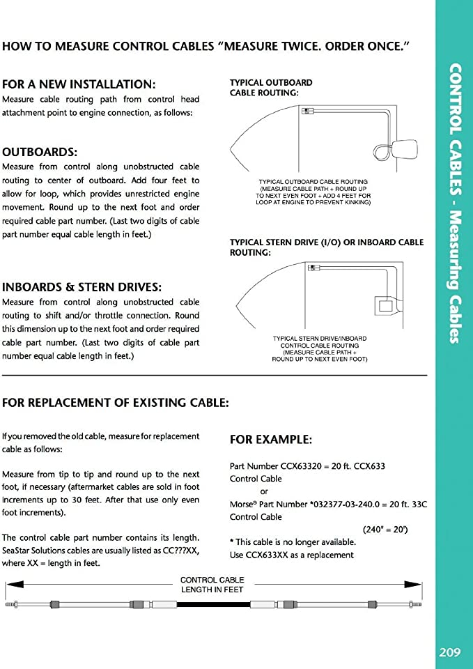 479 Type OMC//Evinrude//Johnson Control Cable SeaStar CC205 SeaStar CC20515 15 Feet 1979 to date