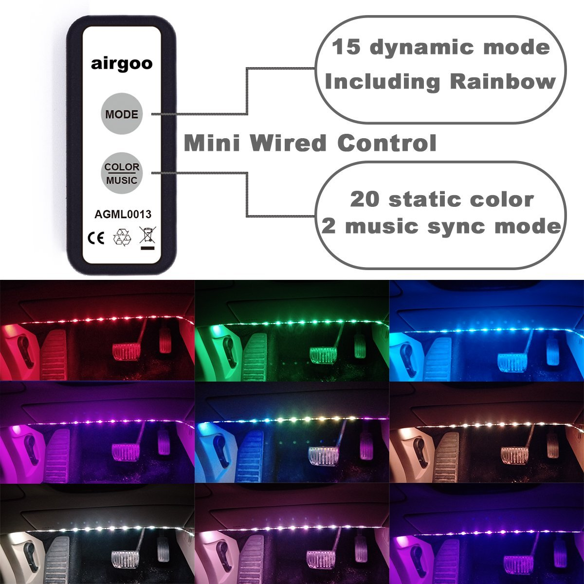 Airgoo Rainbow Car Led Strip Light Color Music Se Vacuum Wire Diagram Interior Lights Atmosphere Underdash Lighting Kit With Sound Active Function And Wired