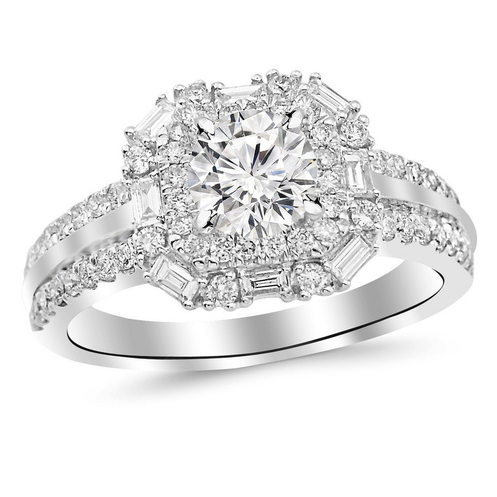 1.44 Carat t.w. 14K White Gold Round Double Row Baguette and Round Halo Diamond Engagement Ring K I2 Clarity Center Stones.