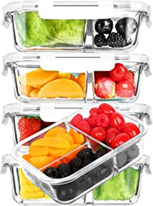 [5-Pack,36 oz]Glass Meal Prep Containers 3 Compartment with Lids, Glass Lunch Containers,Food Prep Lunch Box,Bento Box,BPA-Free, Microwave, Oven, Freezer, Dishwasher (4.5 Cups, White)