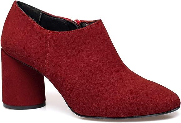 Fashion Zapato Abotinado de tacón Rojo: Amazon.es: Zapatos y ...
