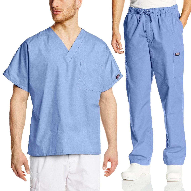 Cherokee Mens Workwear Scrub Set Medical/Dentist Uniform V-neck Top & Cargo Pant (Ciel, Medium)