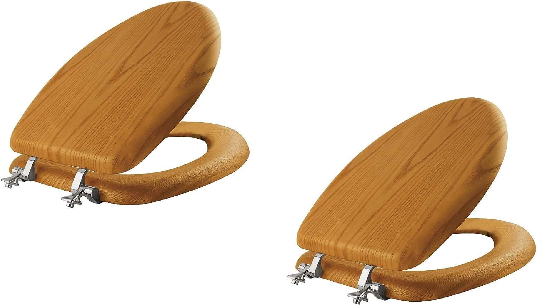 19601CP Bemis 19601CP 888 ELONGATED MAYFAIR Walnut Veneer Toilet Seat with Chrome Hinges