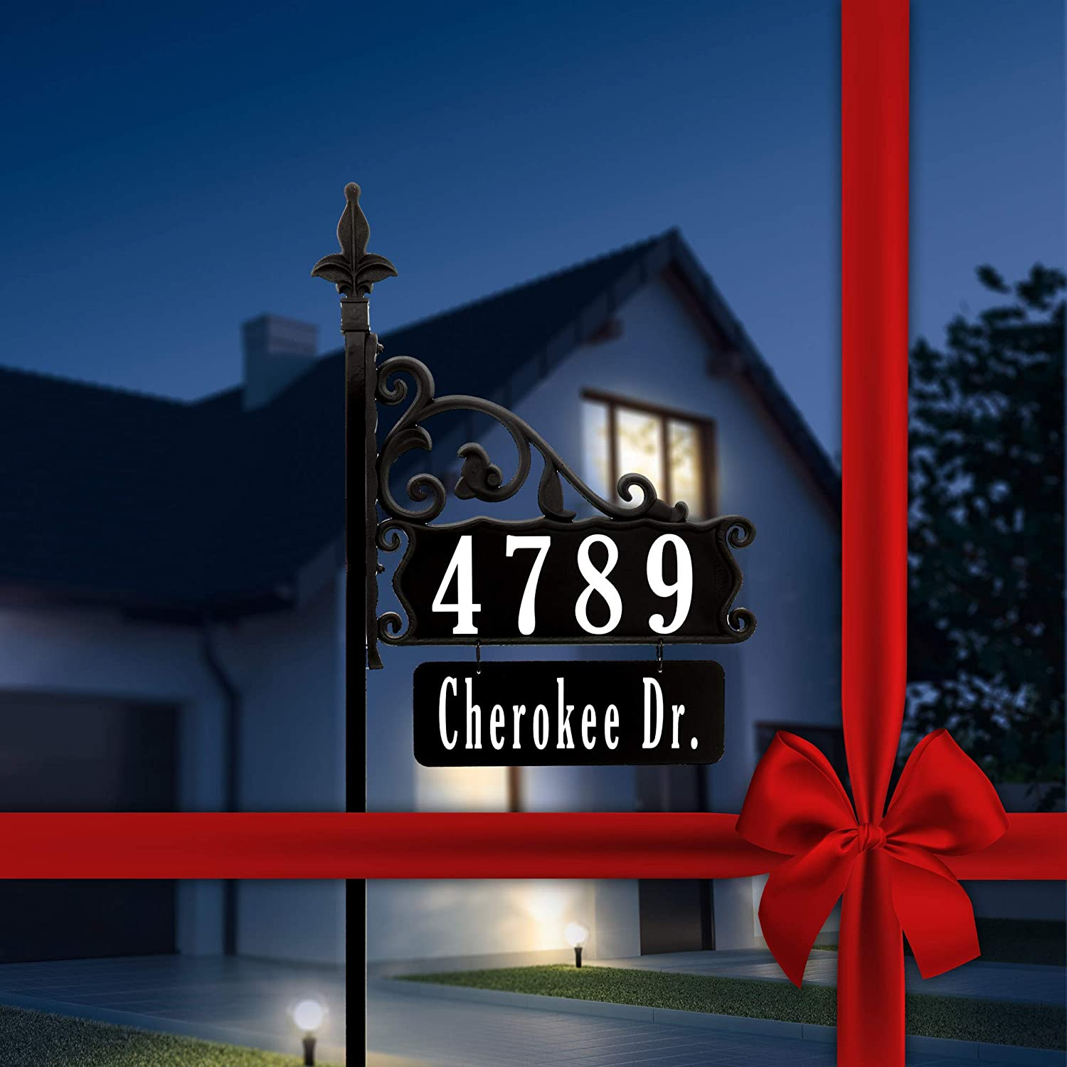 """Address America Boardwalk Personalized Custom Double-Sided Reflective Home Address Sign for Yard with Name Rider Plaque for 911 Number Visibility - 58"""" Post"""