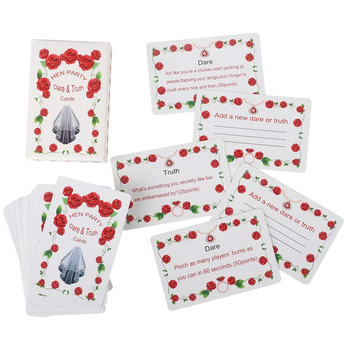 Girls Hen Night Out Party Games- Dare&Truth Cards, Hilarious Fiendishly Filthy Hen Party Ice Breaking Game Adults Team Bride To Be Bridal Shower Leisure, Hen Do Night Party Bingo Fun Games(52 Cards)