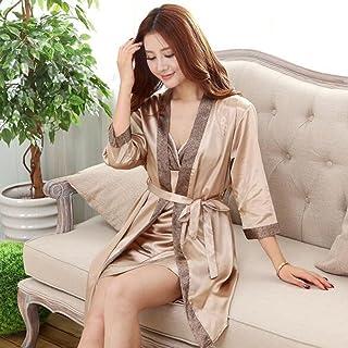 Boxer Briefs Couple Women Kimono Satin Silk Soft Nightwear Bathrobe Robes Dressing Gown Housecoat Sleepwear (Color : A, Size : XXL)