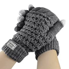 Fakeface Knitted Wool Touch Screen Texting Gloves for All Touchscreen Electronic Devices for Women/Ladies/Girls; Great Gift for Christmas/Birthday/New Year