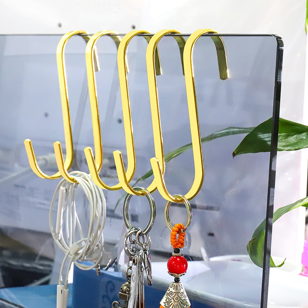 10 Pack Heavy Duty S Hook For Hanging Large Closet S Hooks Small 2 inch S Shaped Hooks Gold Luxury For Kitchen Spoon Pan Pot Hanging Clothes Plants Utensils Towels by HYibiao (Image #3)