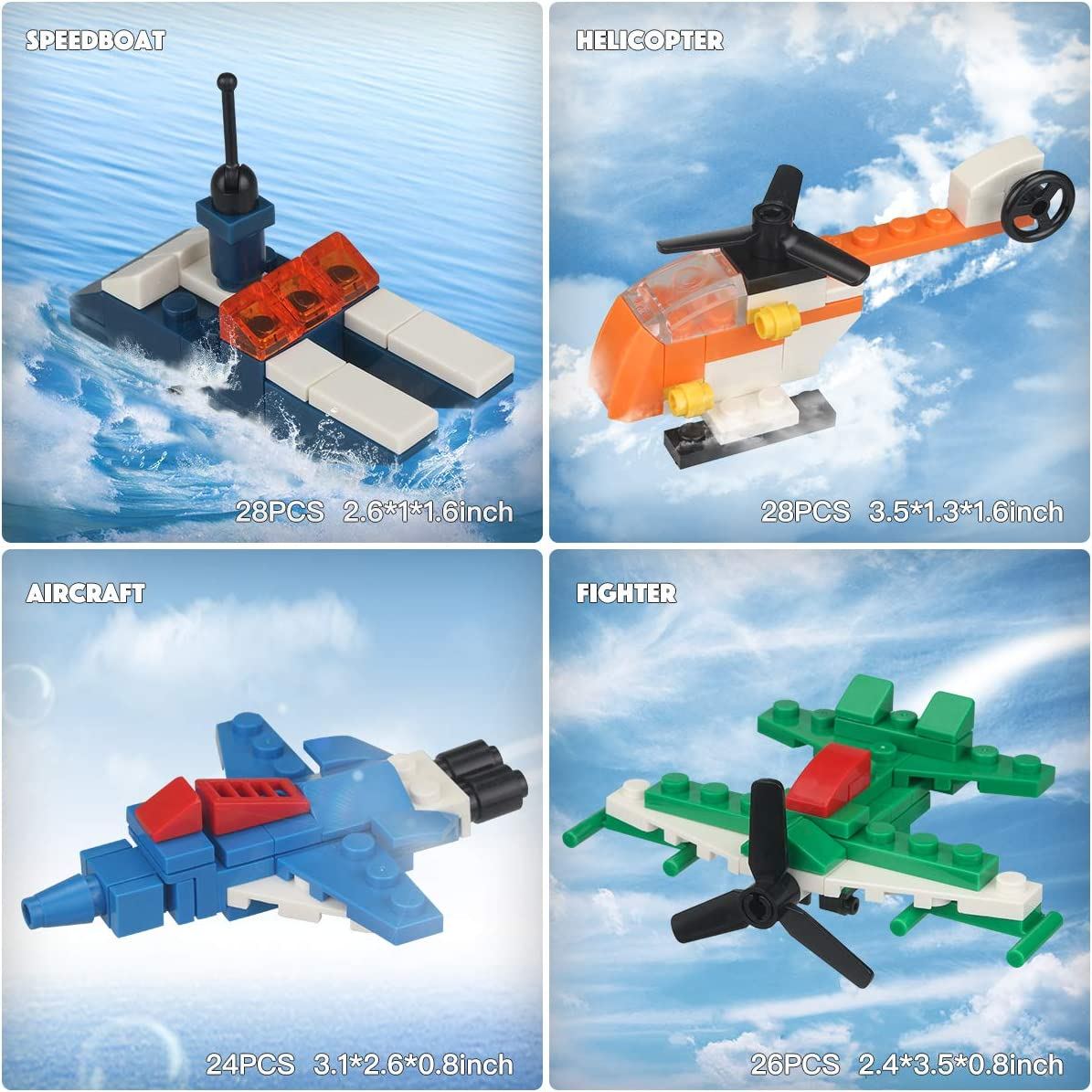 10 Vehicle Building Blocks Mini Building Blocks Sets 26 Pack Mini Figures Toys /& Mini Building Vehicles Set Includes 16 Minifigures Styles May Vary from Image