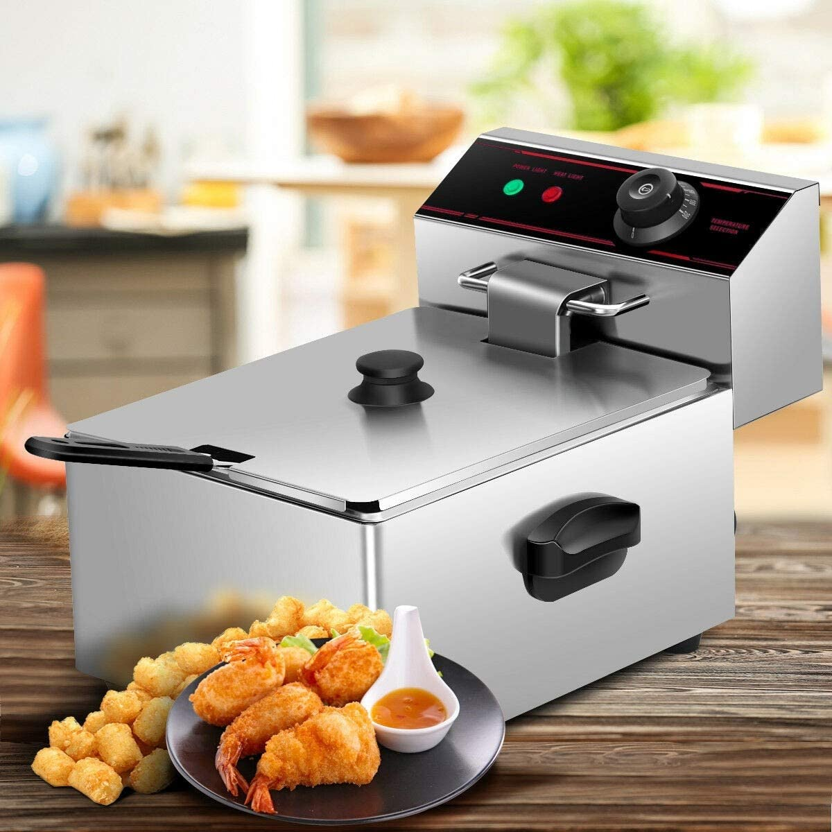 2500W 6L Single Electric Deep Fryer with Basket Scoop 110V Advanced cooking Technology Electric Countertop Deep Fryer Basket Restaurant French Fries, onion rings, fried chicken easy to use and clean