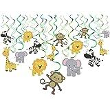 Konsait Animal Hanging Swirl Decoration(30Pack) Zoo Swirls Animals Themed Birthday Party Spirals Home Ceiling Wall Decor for Woodland Farm Baby Shower Favor Supplies Decor for Boy Girls Kids