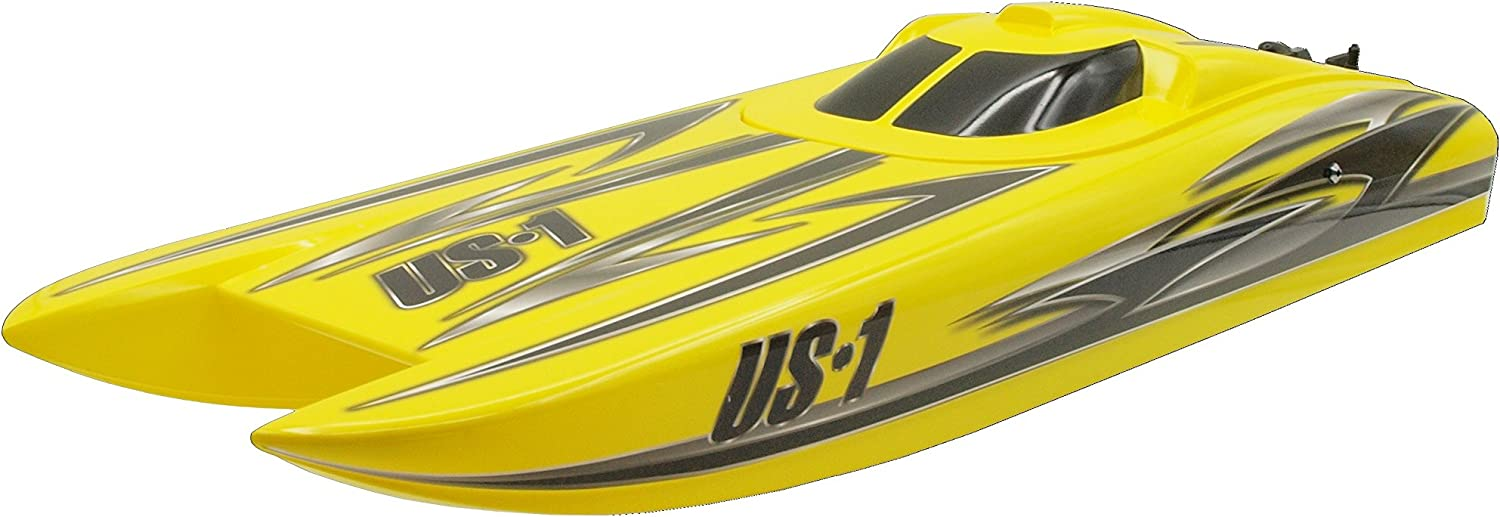 71POC-kf24L AC SL1500 in RC Rennboot Alpha Flame Yellow Scheme