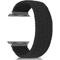 Apple Watch 44mm Kordon Seri 5 Örgü Solo Loop Kordon Medium Beden 14.7cm SİYAH