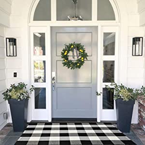 MUBIN Cotton Buffalo Plaid Rug Black/White Check Rugs 27.5 x 43 Inches Reversible Washable Hand-Woven Outdoor Rugs for Layered Door Mats Porch/Kitchen/Farmhouse