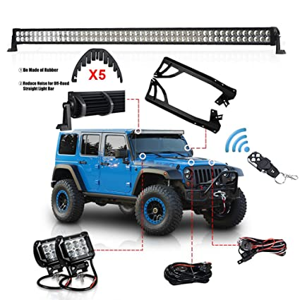 Amazon racbox 1 x 300w 52 inch offroad light bar 2 x 18w 4 racbox 1 x 300w 52 inch offroad light bar 2 x 18w 4 inch pod aloadofball Images