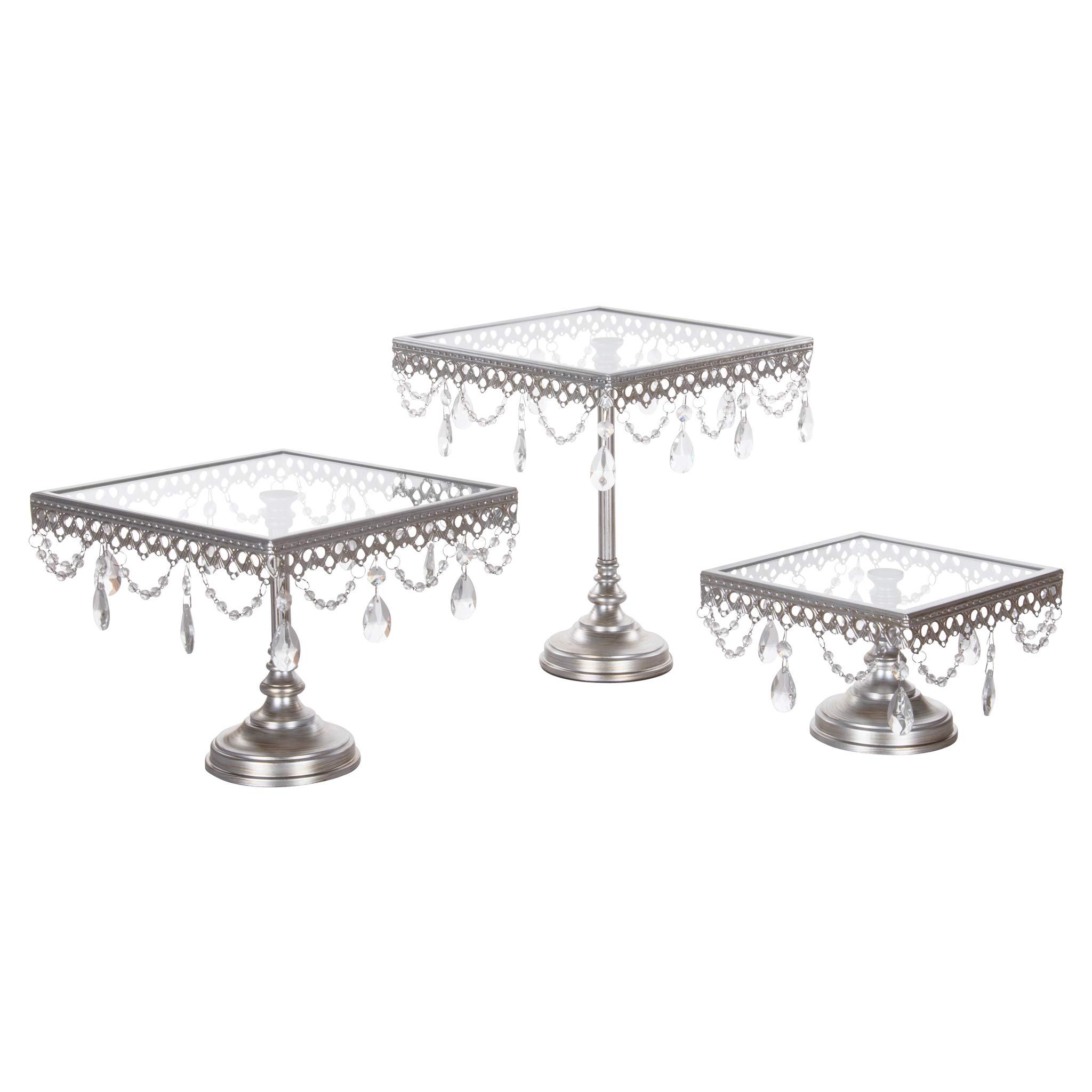 Amalfi Decor Glass-Top Square Cake Stand Set of 3, Dessert Cupcake Wedding Event Party Birthday Metal Display Pedestal (Silver)