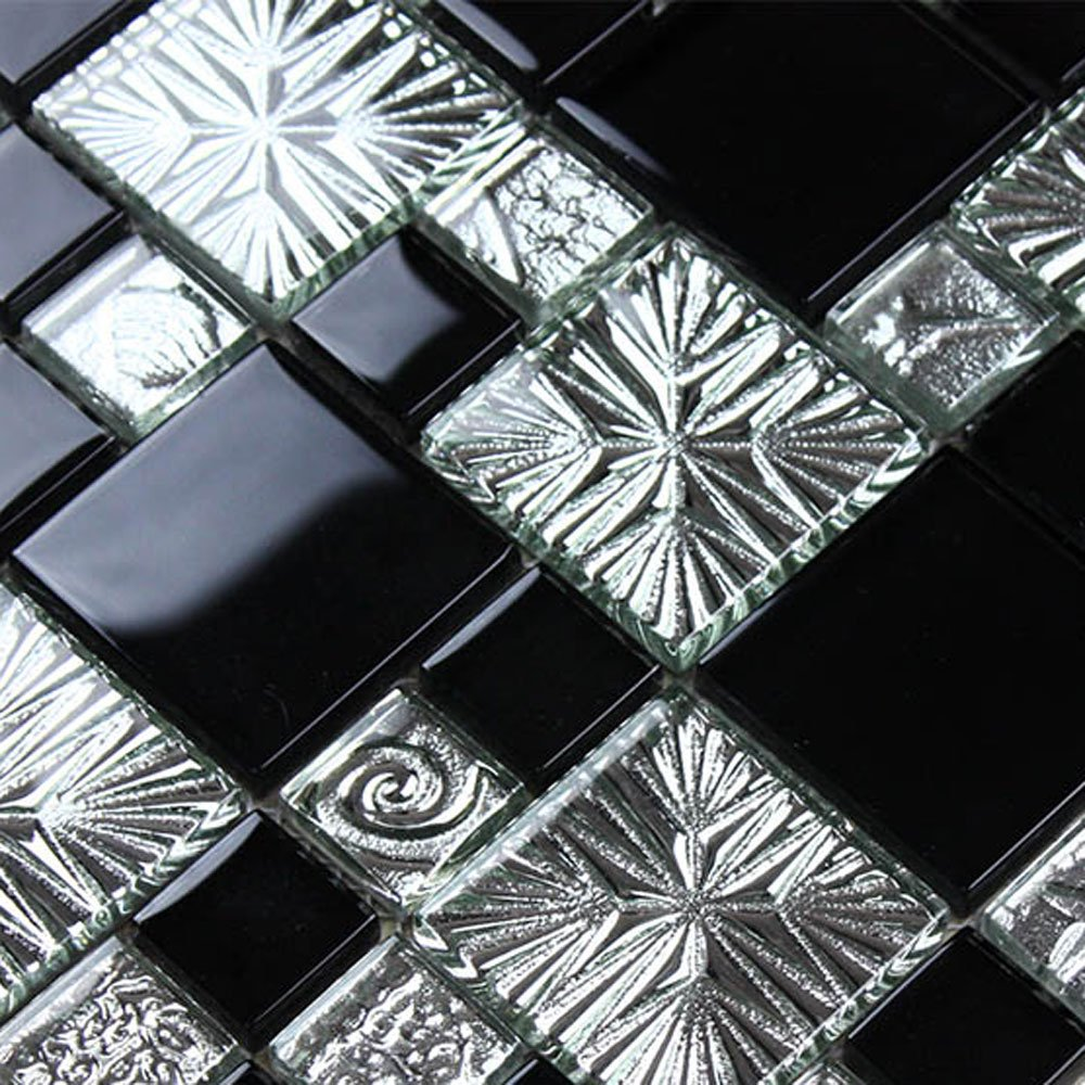 Decoraport 8mm Thickness Electroplated Glass Mesh-mounted Mosaic Tile Sheet for Kitchen Backsplash Bathroom Wall and Swimming Pool – 12x12 Inch (R3855c) (Lot of 5 Sqf)