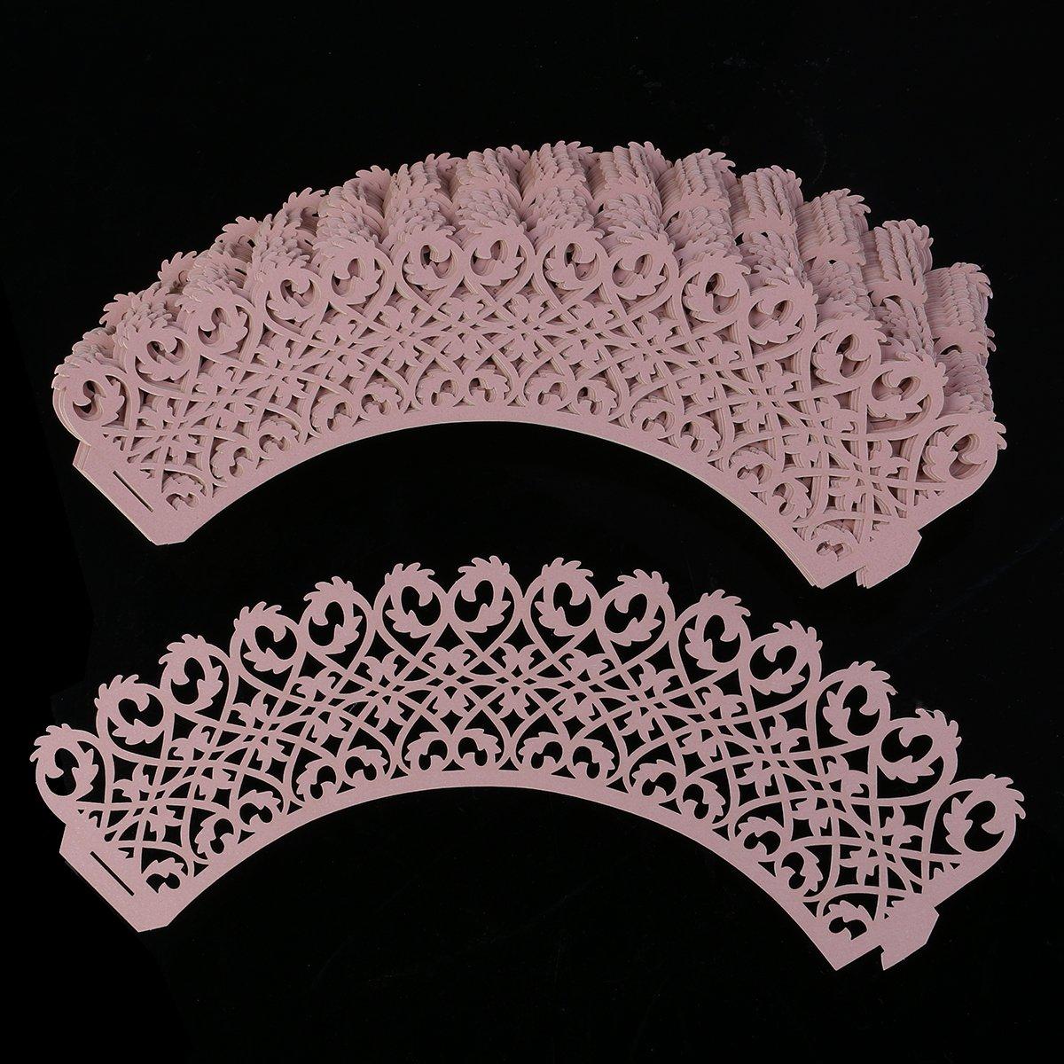 rosenice 50 moldes para magdalenas (Papel, vasos de cartón para Tarta de niña boda fiesta de cumpleaños (Rosa): Amazon.es: Bricolaje y herramientas