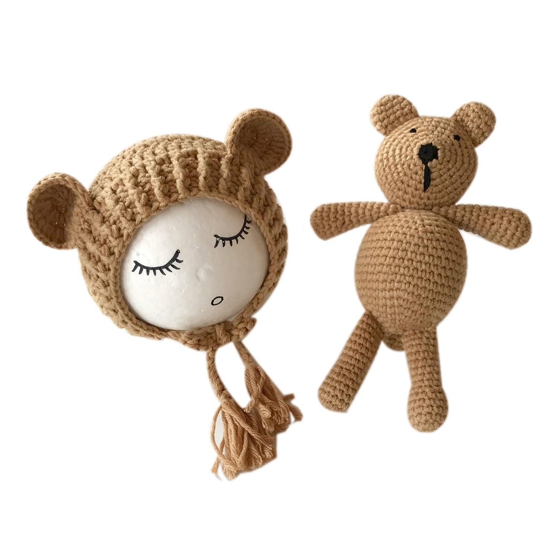 Newborn Baby Photography Props Boy Girl Crochet Costume Outfits Hat Bear Set (Beige) Binlunnu