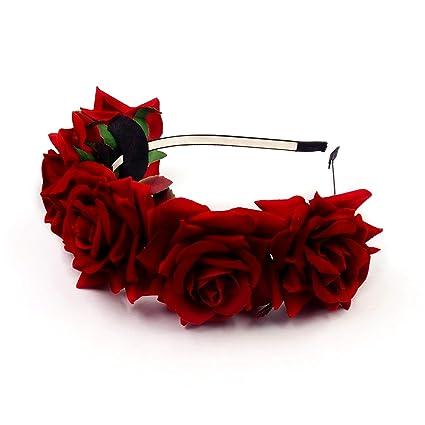 JZK Cerchietto rose rosse capelli fascia fiori per bambina donna per Dia De Los  muertos Halloween 7849b2f94ed7