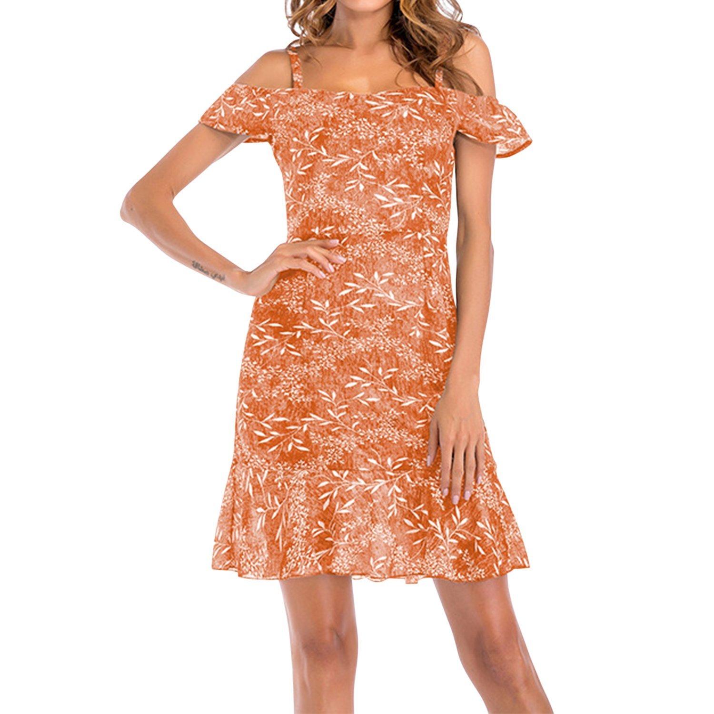 Misscat Women's Chiffon Mini Dress Off Shoulder Ruffle Summer Beach Sundress