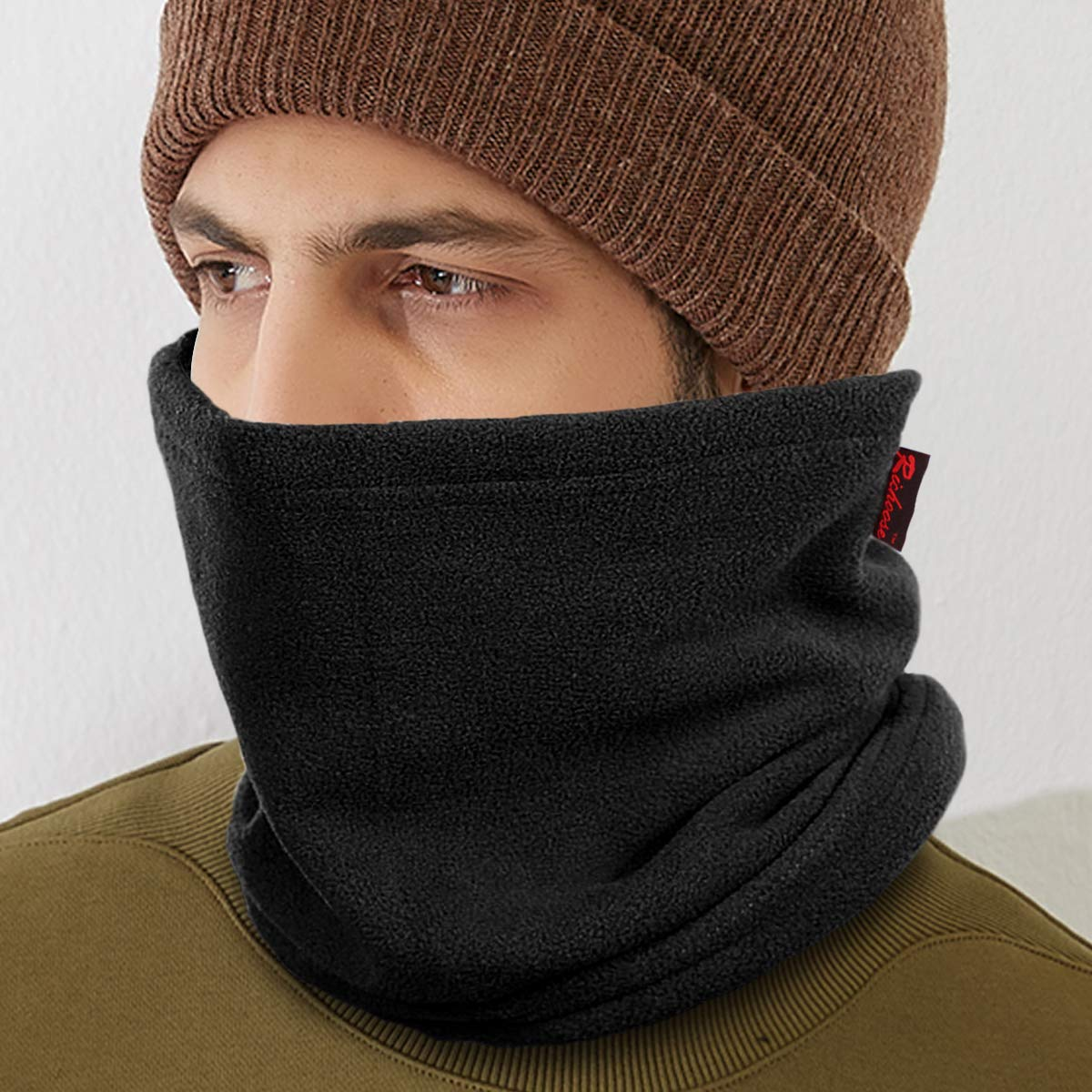 3 en 1 Polar Fleece Neck Warmer Mask Pasamonta/ñas Braga Cuello Gorra de invierno para Ciclismo Moto Wisolt Bufanda Tubular