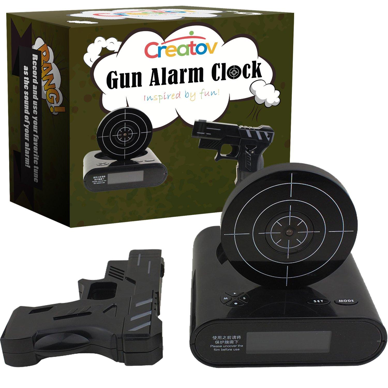 Creatov Alarm Clock With Infrared Laser Gun Black Kitchen Home