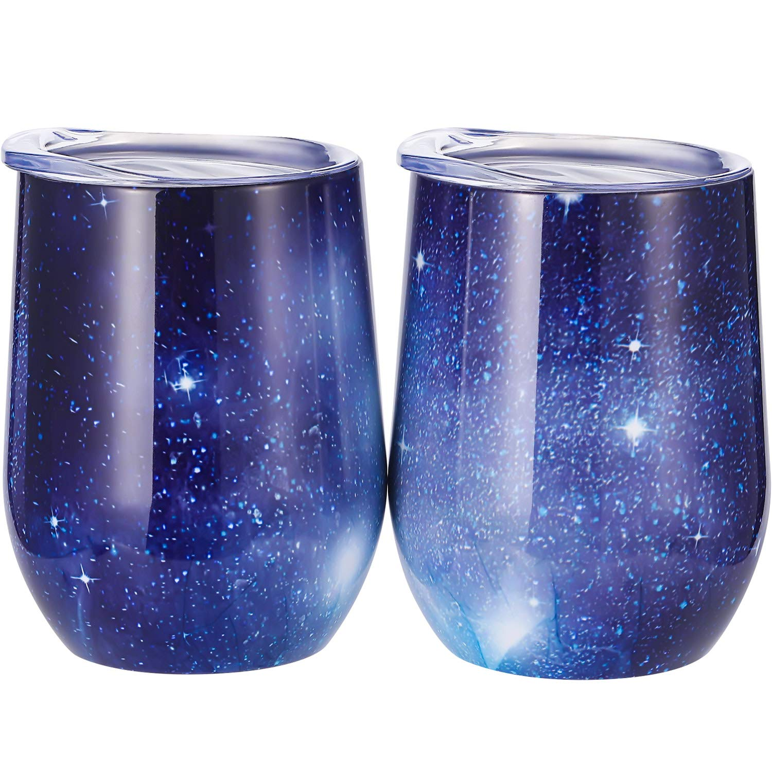 Skylety 12 oz Double-insulated Stemless Glass, Stainless Steel Tumbler Cup with Lids for Wine, Coffee, Drinks, Champagne, Cocktails, 2 Sets (Starry Blue)