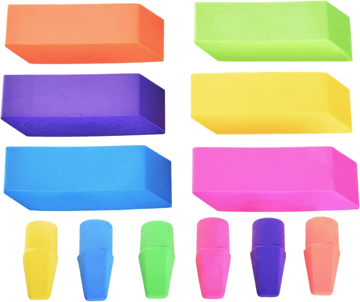 Use in School Home /& Office Emraw 6 Assorted Color Cap Fun Mini Eraser Top for Pencils 50 Pack
