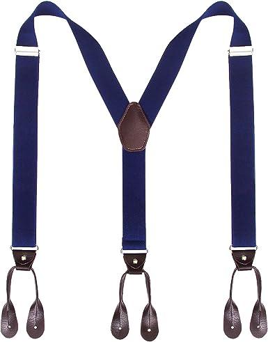 Tirantes de tirantes con botón para hombre - Tira elástica con botón ajustable en forma de Y de 3, 5 cm de ancho (Azul marino): Amazon.es: Ropa y accesorios